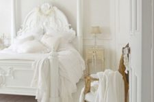 12 all-white space with a refined gilded chair, a gorgeous sculptural bed and creamy nightstands