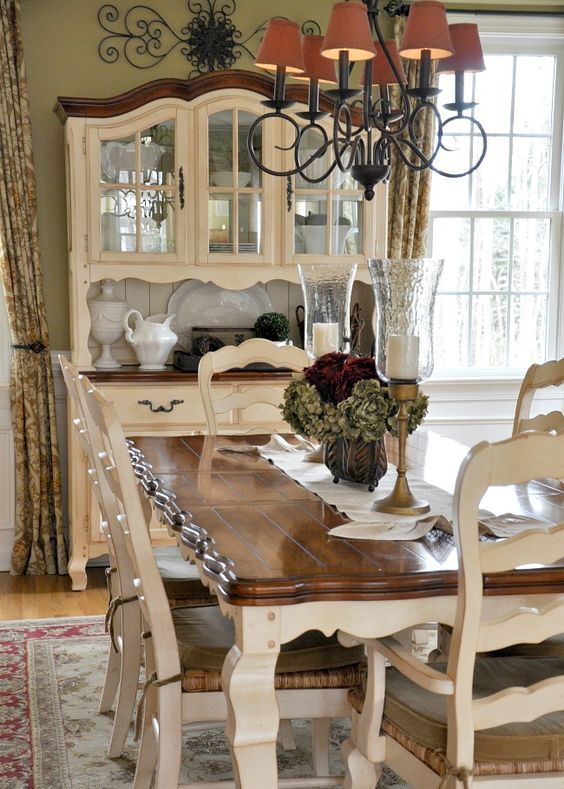 white furniture with stained wood tops and countertops