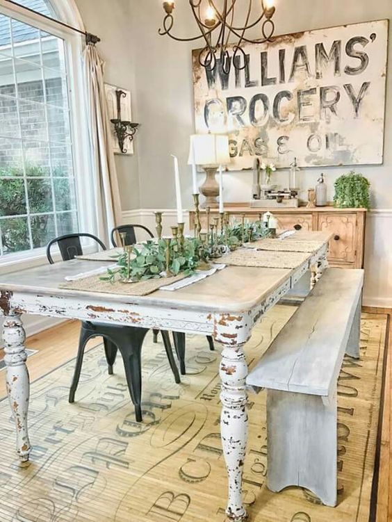 A Whitewashed Shabby Chic Dining Table Defined This Dining Space