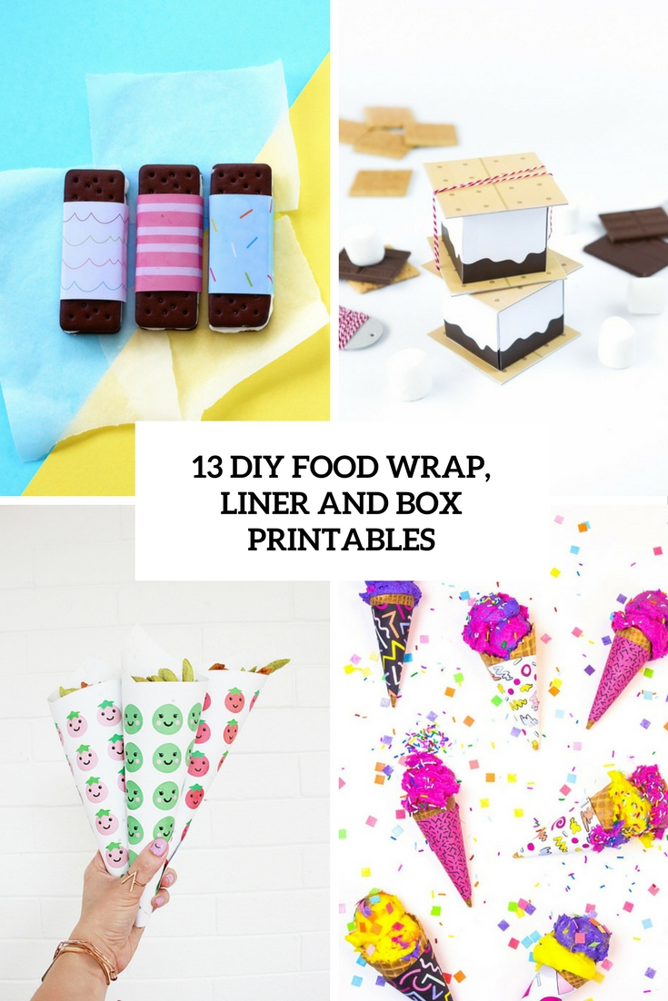 diy food wrap, liner and box printables cover