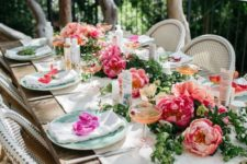 13 large bold peony table runner make it spriny and vivacious