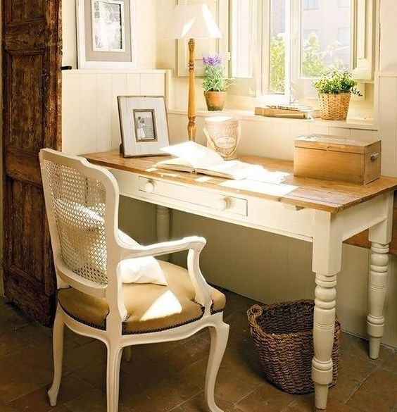 a rustic French provincial desk and a matching chair for a cool atmosphere