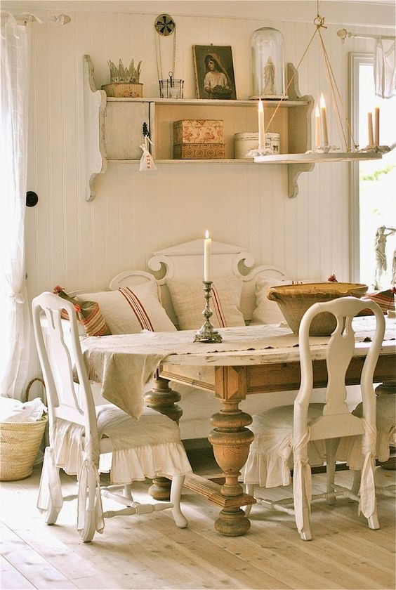 rustic dining set with a bench, every piece is carved
