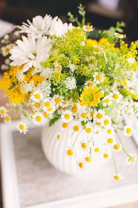 sunny yellow blooms will enliven the table decor