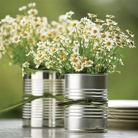 tin can vases and wildflowers for a country bridal shower