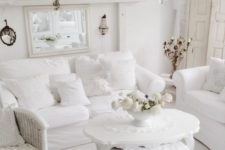 15 upholstered white furniture makes the room cozier and softer