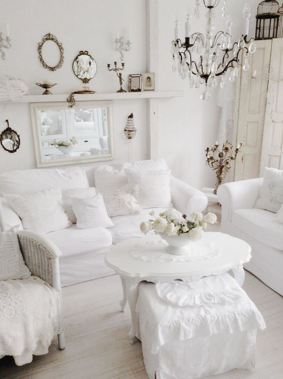 upholstered white furniture makes the room cozier and softer
