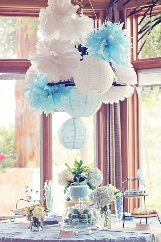 white and blue paper lanterns and pompoms as a hanging decoration
