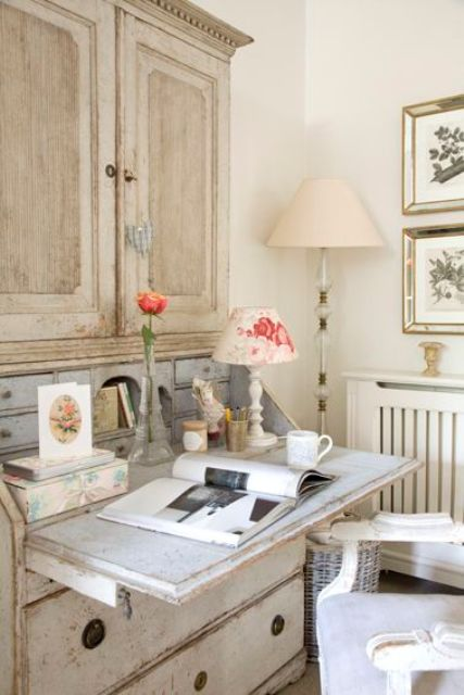 a shabby chic bureau can double as a desk, so look for one