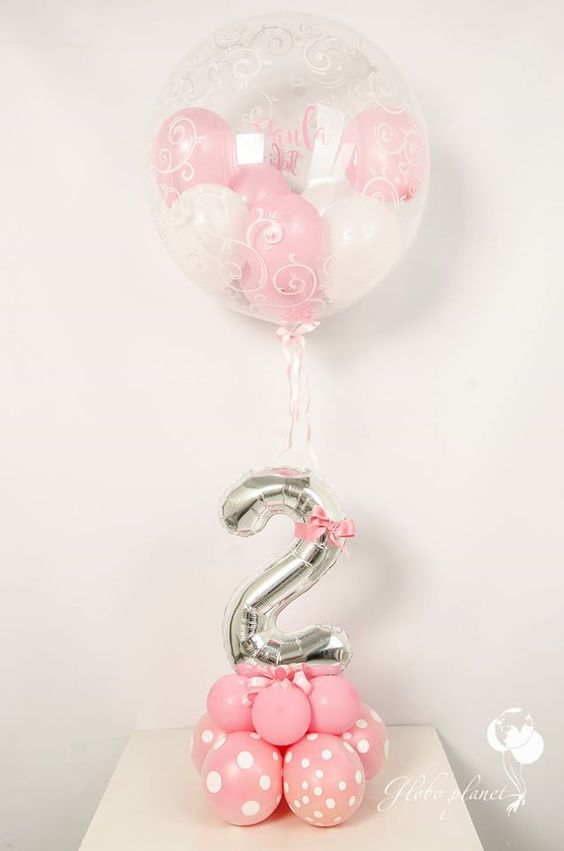 pink balloons with a silver number and a large balloon with balloons inside