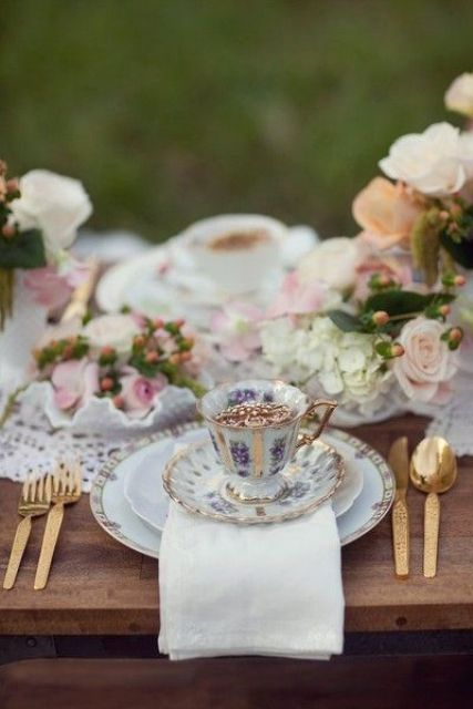 use vintage dishes and cups for a refined tablescape