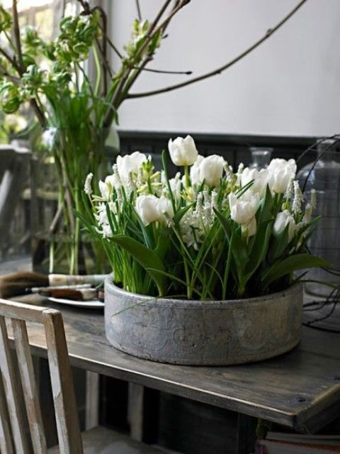 a tin can with white tulips and other spring blooms