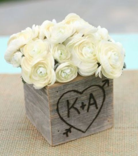 An Engraved Rustic Box Filled With Lovely White Roses Perfect For A Bridal Shower Centerpiece