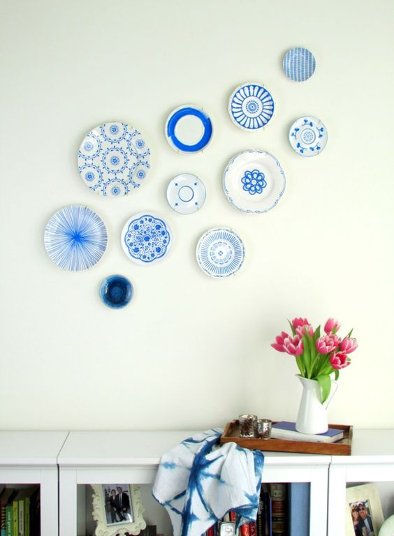 handpainted Japanese ceramics inspired plates for a living room
