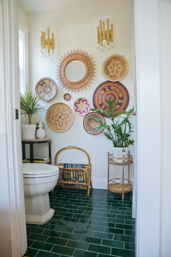 make your bathroom cozier with colorful wall baskets and a bold tile floor