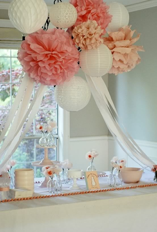 paper lanterns and pompoms over the dessert table look sweet