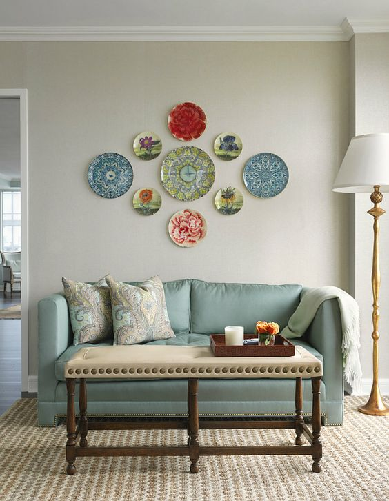 vibrant red, blue and green symmetrical plate combo