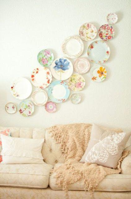 vintage floral plate arrangement in a living room