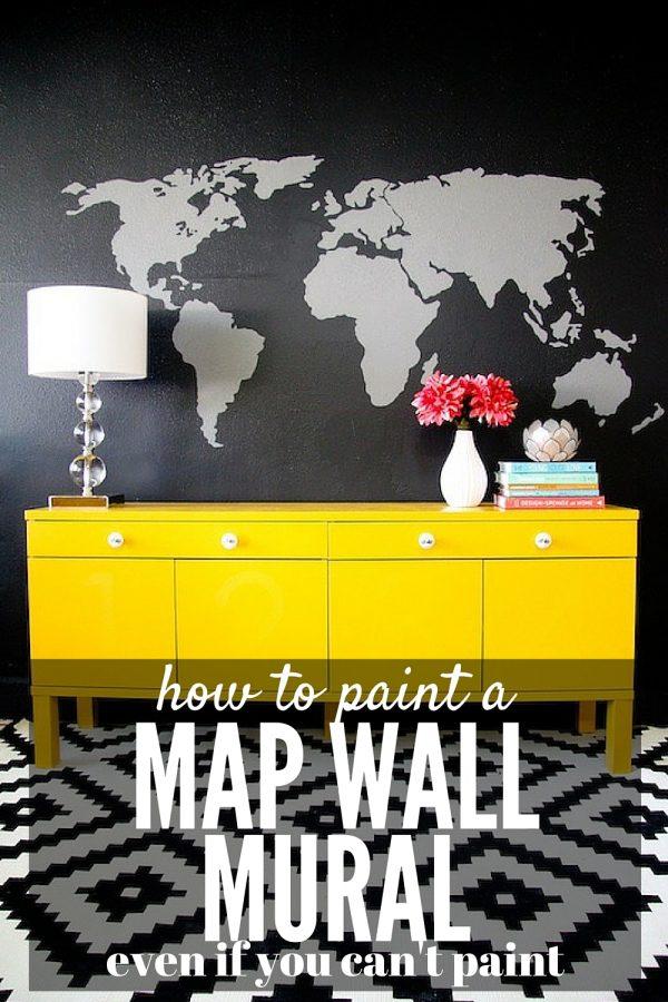 DIY map wall mural (via loveandrenovations.com)
