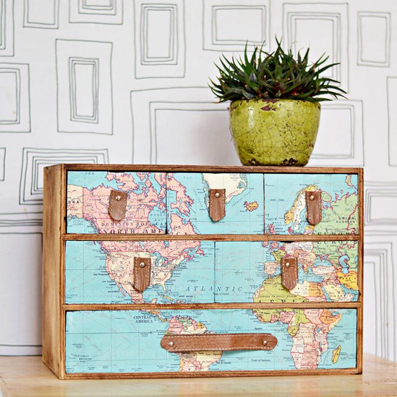 DIY Ikea Moppe hack with a map (via www.pillarboxblue.com)