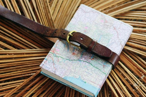 DIY map covered notebook (via www.shelterness.com)
