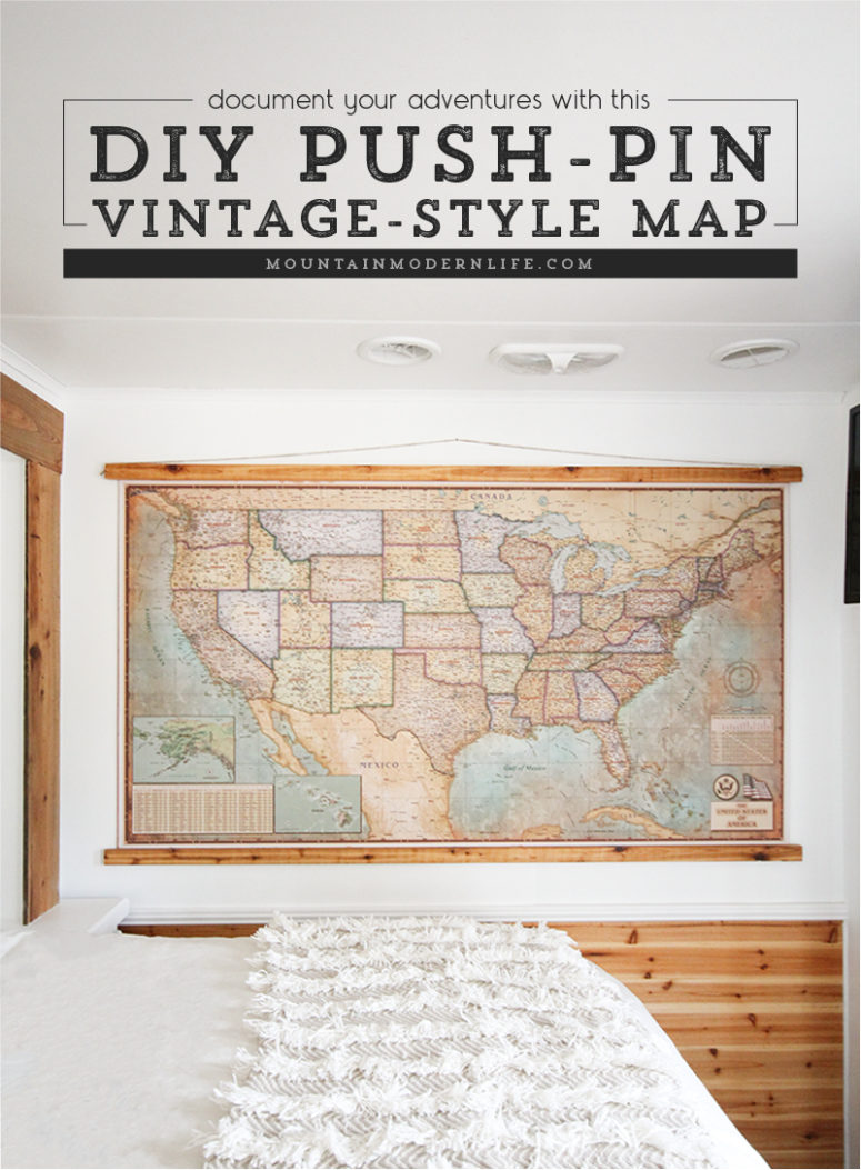 DIY push pin vintage style map (via mountainmodernlife.com)