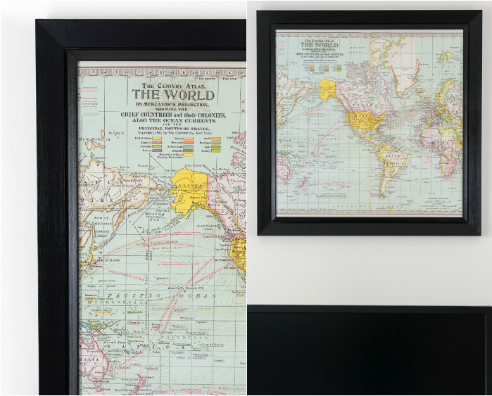 DIY map art in a frame