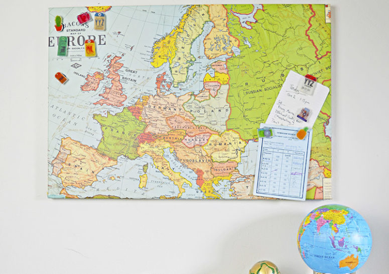 DIY upcycled magnetic board covered with a map (via www.pillarboxblue.com)