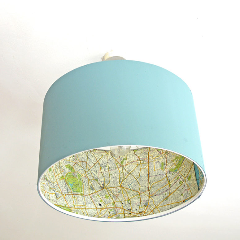 DIY map covered lampshade (via www.pillarboxblue.com)