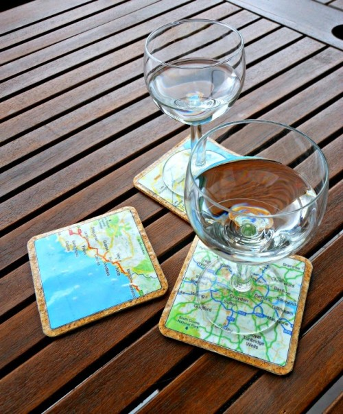 DIY map coasters (via www.shelterness.com)