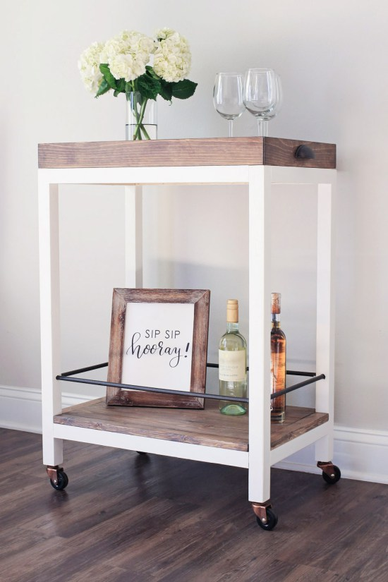DIY rustic bar cart with a wooden top (via angelamariemade.com)