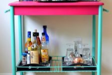DIY fuchsia and turquoise bar cart makeover