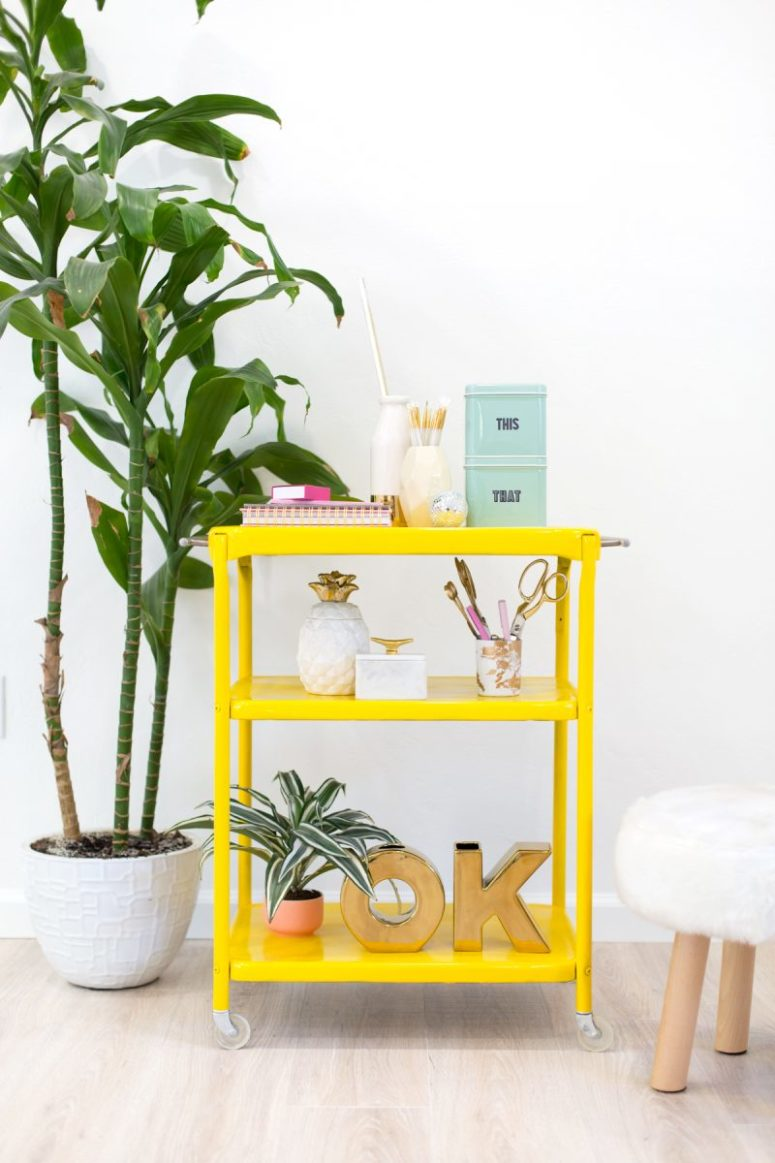 DIY bold neon yellow bar cart (via lovelyindeed.com)