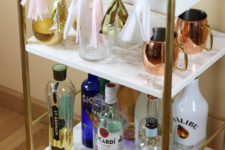 DIY Ikea Bygel into a glam marble and gold bar cart