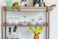 DIY copper and leather bar cart