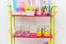 DIY yellow and fuchsia bar cart