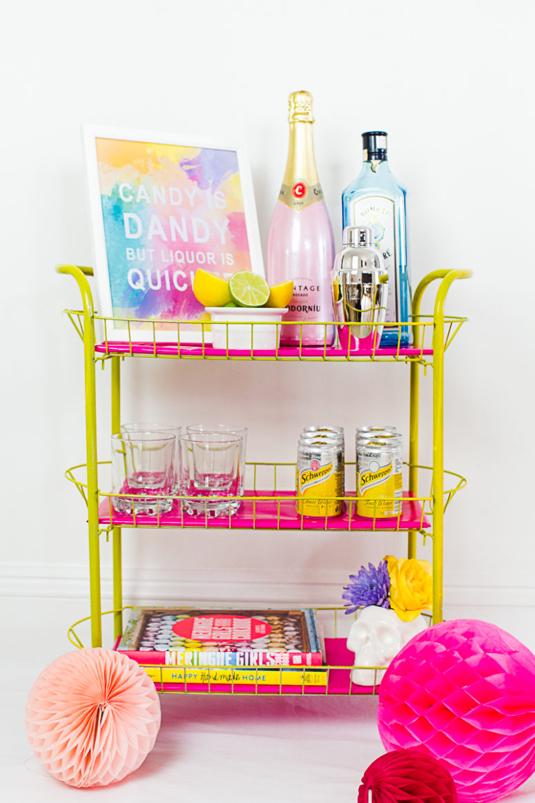 DIY yellow and fuchsia bar cart (via www.bespoke-bride.com)