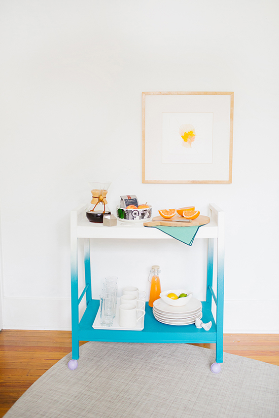 DIY ombre bar cart in blue and white (via www.papernstitchblog.com)