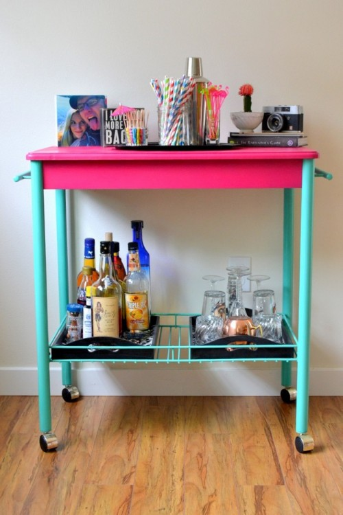DIY fuchsia and turquoise bar cart makeover (via www.shelterness.com)