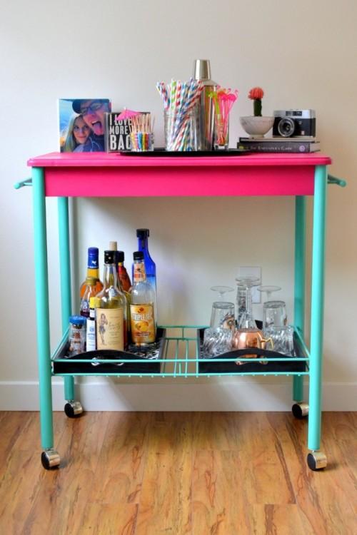 DIY fuchsia and turquoise bar cart makeover (via www.shelterness.com)