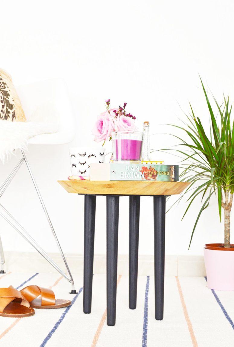 DIY Ikea chopping board and legs into a side table (via enthrallinggumption.com)