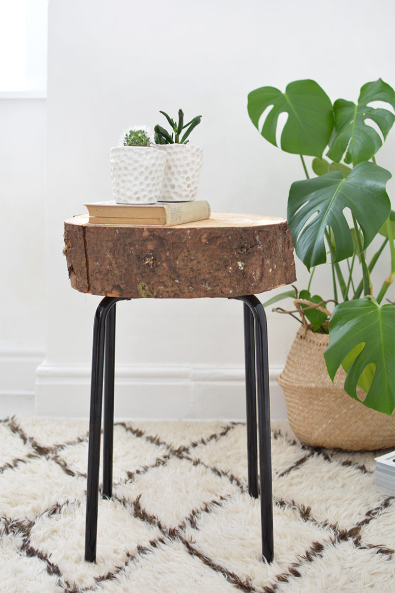 DIY Ikea stool and wooden slice into a side table (via www.burkatron.com)