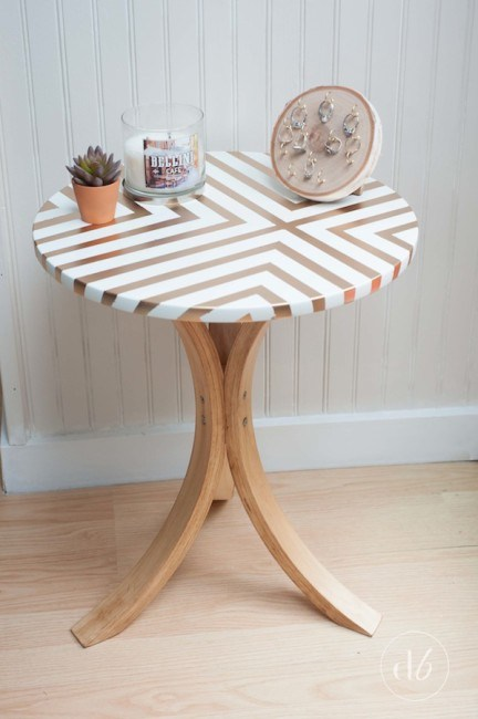 DIY Ikea side table hack with a geometric tabletop (via www.dwellbeautiful.com)