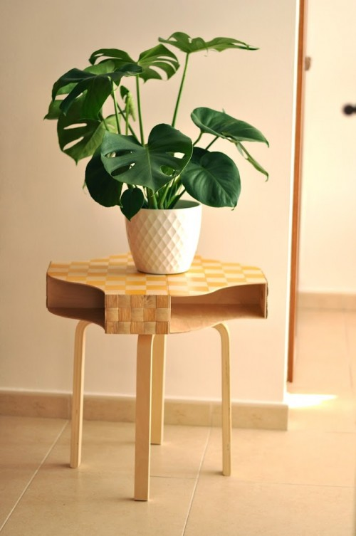 DIY creative side table from several Ikea items (via www.shelterness.com)
