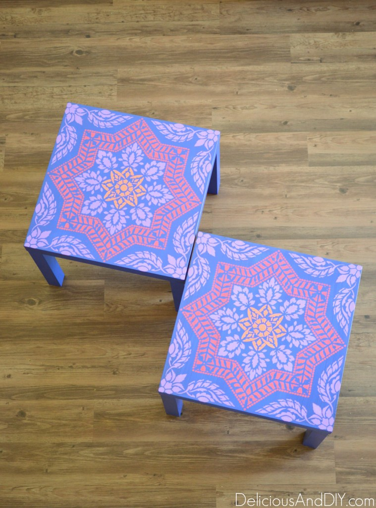 DIY Lack side table makeover with bold paints (via www.deliciousanddiy.com)