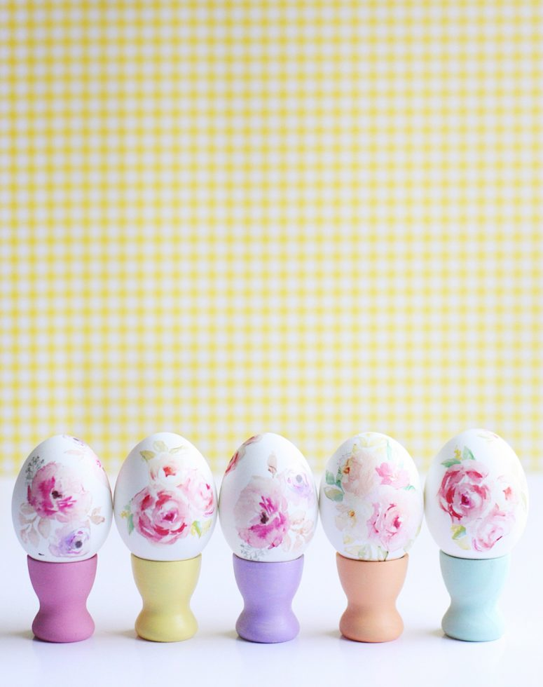 DIY tattooed watercolor floral Easter eggs (via prettylifegirls.com)