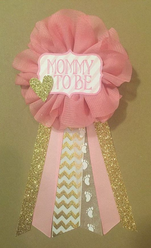 DIY glam pink and gold baby shower corsage (via www.cutest-baby-shower-ideas.com)