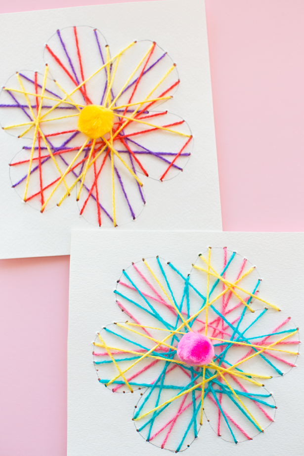 DIY string art flower cards (via www.hellowonderful.co)