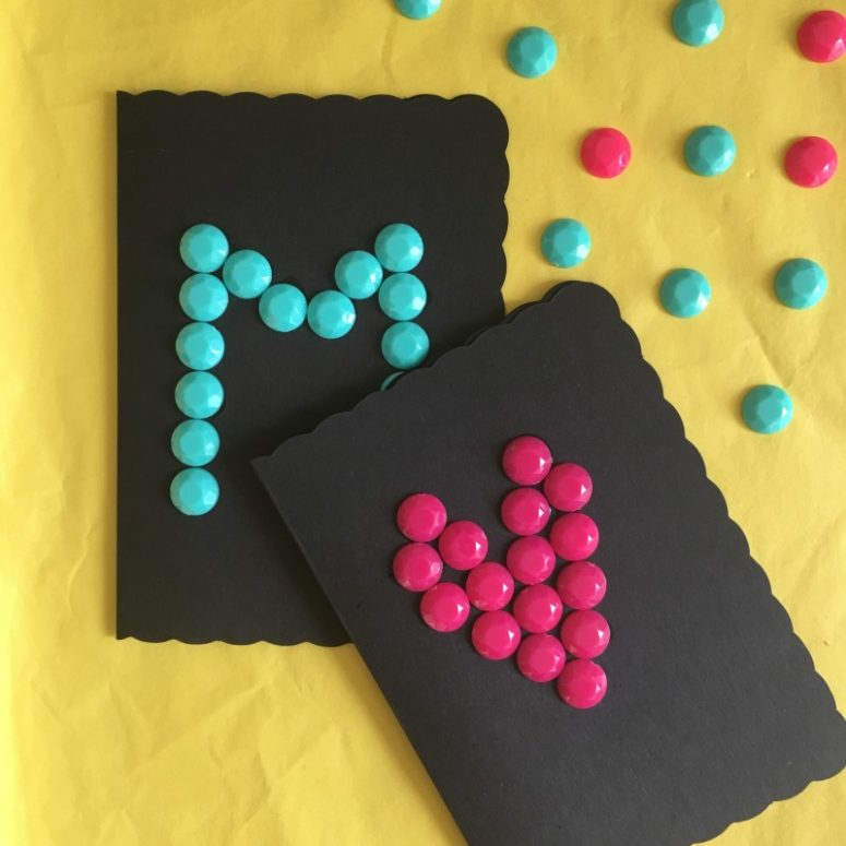 DIY black cards with colorful letters (via hapinesswherever.com)