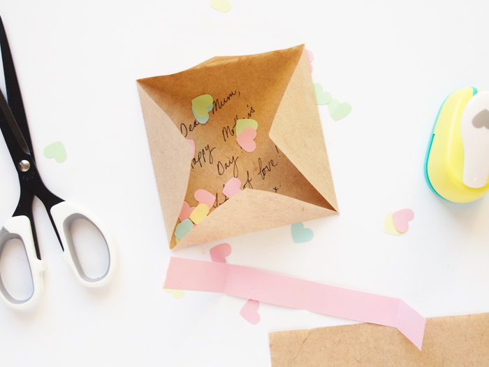 DIY origami and confetti card for Mother's Day (via www.paperandpin.com)